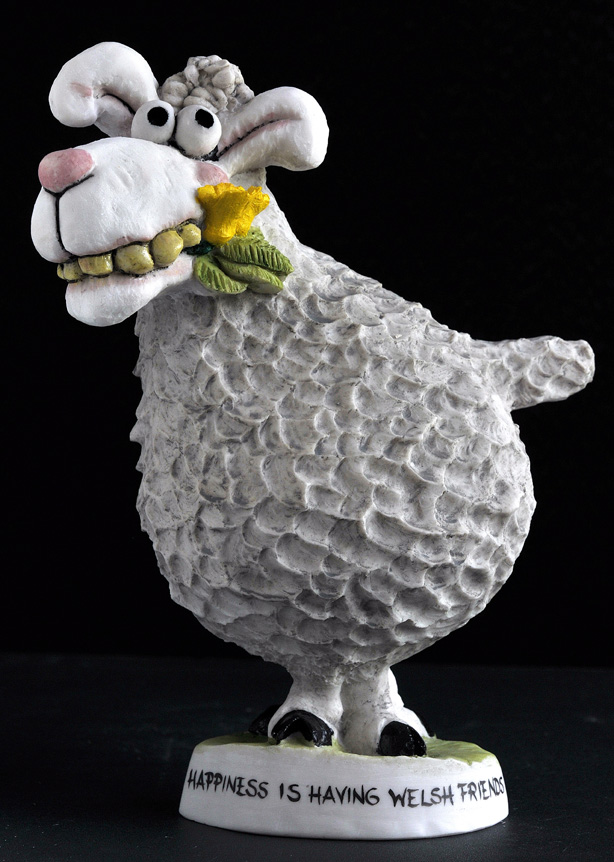 Sheep with daffodil