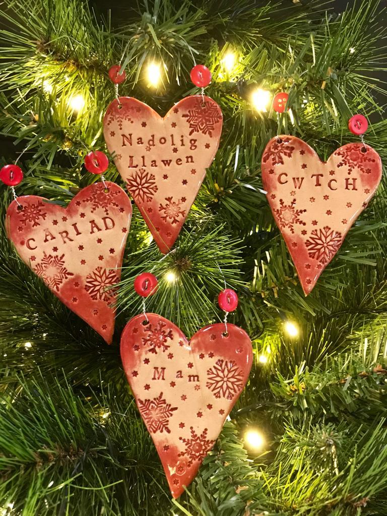 Christmas Tree Ceramic Heart