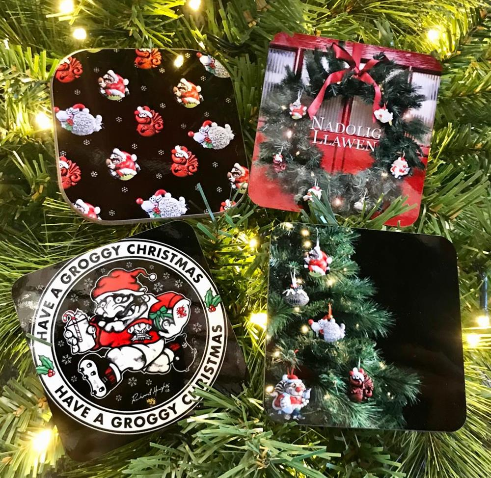 Groggy Christmas Coasters *Choice of design*