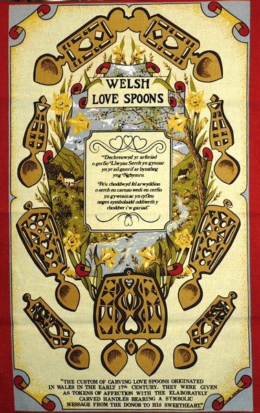 Welsh Lovespoons Tea Towel