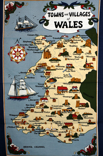Towns and Villages of Wales Tea Towel