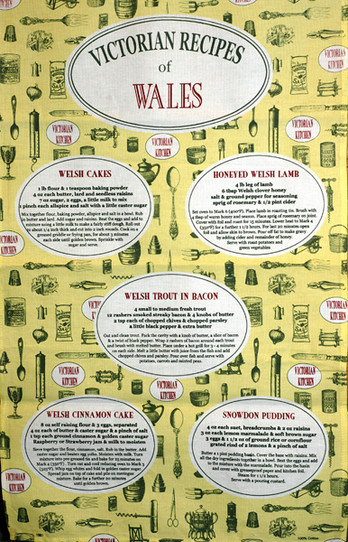 Victorian Recipes of Wales Tea Towel